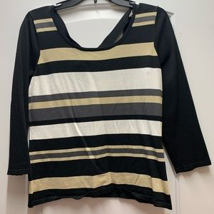 Cable & Gauge striped stretchy shirt